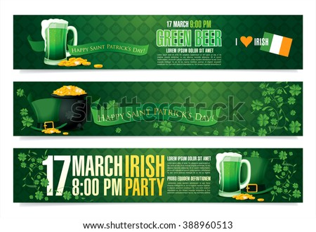 Happy Saint Patrick's day. Vector banners
