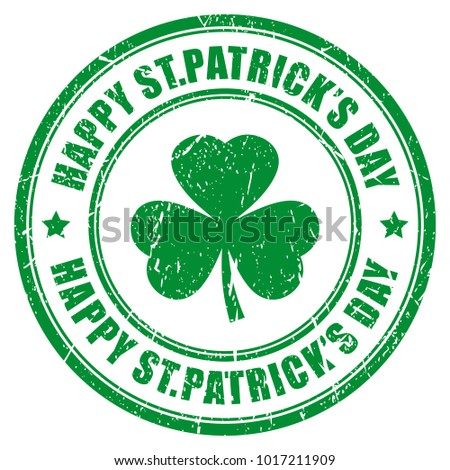 Happy Saint Patrick's day vector stamp illustration isolated on white background