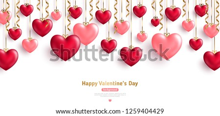 Happy Saint Valentine's day card, hanging pink and red hearts with gold streamers on white background. Place for text. #1259404429