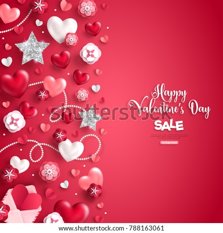 Happy saint valentine's day sale, vertical border, holiday objects on red background. Vector illustration. Glittering heart, star and flowers. Flyer, card, menu, banner, voucher design template.