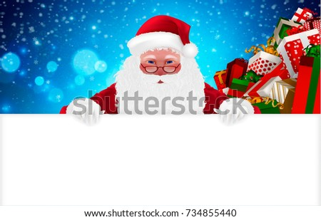 Happy Santa Claus, Cartoon Character, isolated, snow, gift boxes, presents. Merry Christmas and Happy New Year background. Hand drawn Vector Illustration, realistic 3d