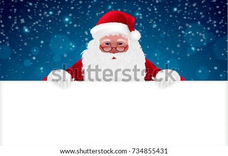 Happy Santa Claus, Cartoon Character, isolated, snow. Merry Christmas and Happy New Year background. Hand drawn Vector Illustration, realistic 3d