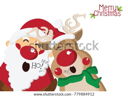 Happy Santa Claus Singing With Cute Reindeer Backgroundcartoon Characters For Christmas GreetingHappy