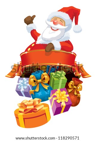 Happy Santa Claus with blank banner and christmas gifts.