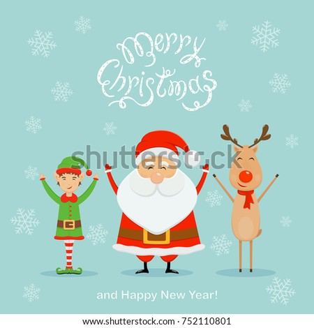 happy santa claus with elf and reindeer text merry christmas and happy new year with - Merry Christmas Elf