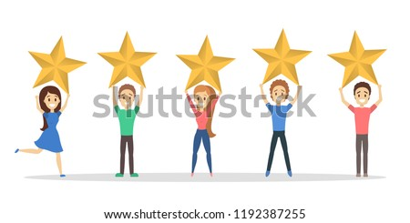 Happy satisfied people holding 5 huge golden stars. Rate the product quality. Idea of feedback and review. Isolated flat vector illustration