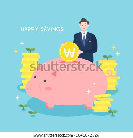 Happy savings illustration