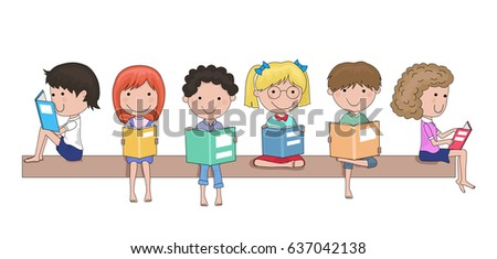 happy school children reading