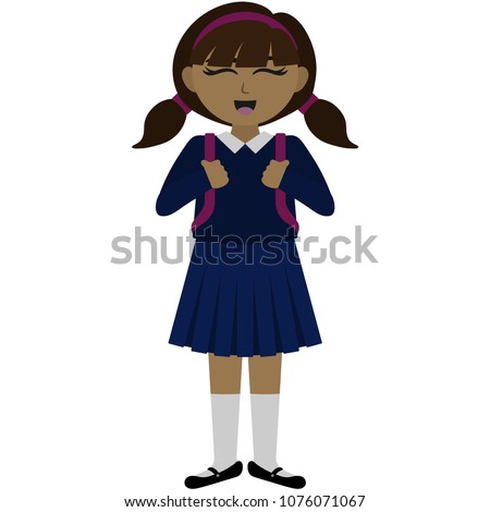 happy school girl in uniform