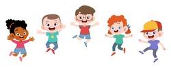 happy school kids jump vector illustration isolated