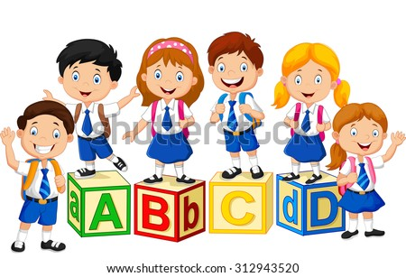 happy school kids with alphabet