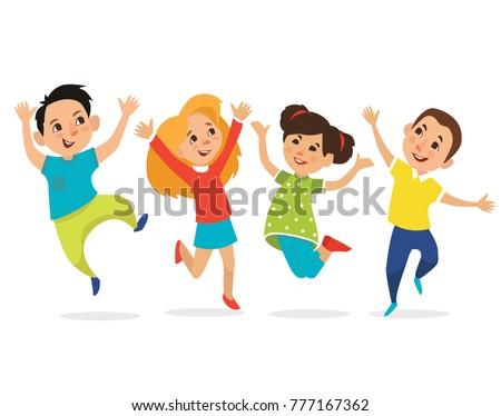 happy school multiracial