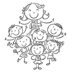 Happy schoolkids with their teacher, school or kindergarten illustration. outline vector file