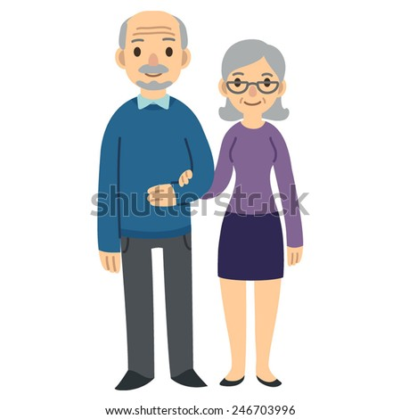 happy senior couple isolated on white