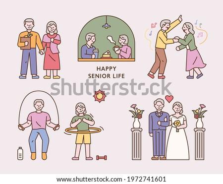 Happy senior couple lifestyle. flat design style minimal vector illustration.