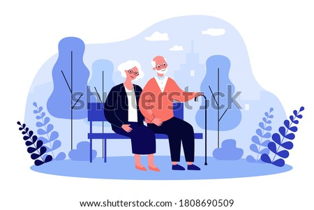 Happy senior couple relaxing in park, sitting on bench, holding hands. Old man with cane and woman enjoying leisure time outdoors. For elderly age, retirement, relationship concept