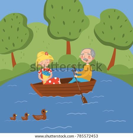 happy senior couple rowing a