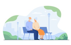 Happy senior couple sitting on bench in park isolated flat vector illustration. Cartoon old characters relaxing together on nature. Family and retirement concept