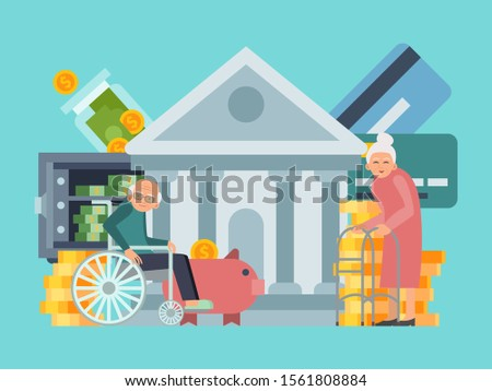 Happy senior old people saving pension money bank. Retirement business plan and personal finance fund vector illustration. Retired seniors, banking and money funds
