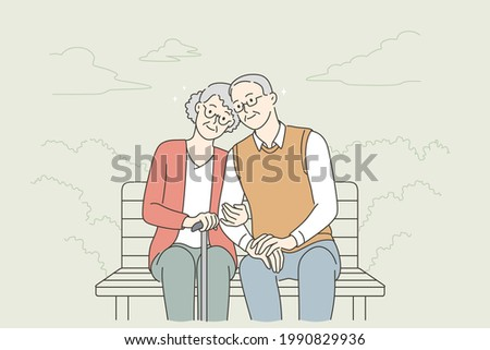 Happy senior people lifestyle concept. Smiling aged mature couple relaxing in park, sitting on bench, holding hands enjoying leisure time outdoors vector illustration