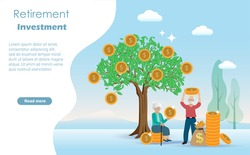 Happy senior/retirement couple enjoy harvesting gold coins from precious money tree. Idea for long term investment fund and financial preparation planning for elderly/pension people concept