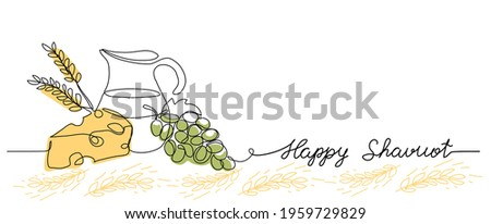 happy Shavuot vector web banner background. One continuous line drawing illustration with lettering happy Shavuot.