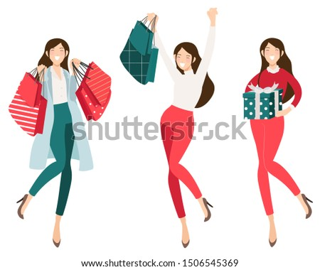 Happy shopaholic girl shopping for christmas collection eps10 vectors illustration
