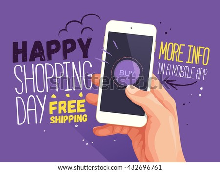 Happy shopping day for mobile app banner. Discount banner design, website sale, poster design for print or web, media, promotional material. Sale and discounts. Free shipping