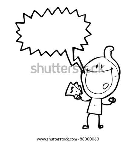 happy shouting man with cash cartoon