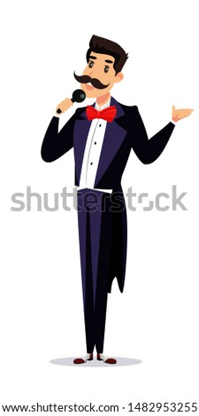 Happy showman in tailcoat, announcer on stage vector cartoon character. Cheerful man with microphone announcing performance. Entertainment, amusement