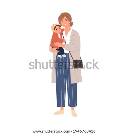happy single mother holding her
