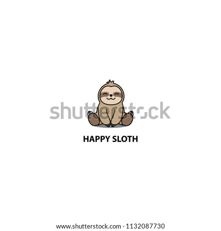 Happy sloth sitting cartoon icon, logo design, vector illustration