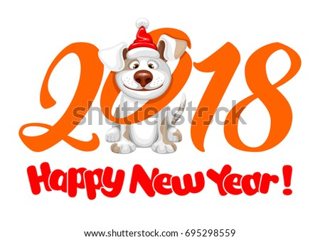 Happy small Dog in Santa Claus hat sitting and smile. Dog is symbol of 2018 year on chinese calendar. Vector illustration. Isolated on white background.