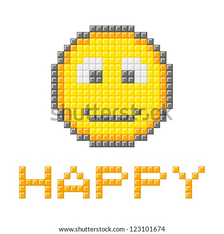 Happy Smiley Emotion Icon in Pixel Blocks