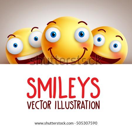 happy smileys funny vector