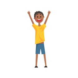 Happy Smiling Black Boy Screaming And Cheering,Part Of Family Members Series Of Cartoon Characters
