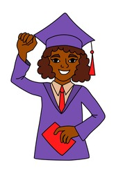 Happy smiling black graduate girl with raised hand wearing academic dress and square cap and holding a diploma, cartoon character. Graduation ceremony woman, illustration isolated on white background.