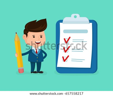 Happy smiling businessman with pencil,clipboard,checklist completed.Vector modern flat style cartoon character illustration.Isolated on white background.Business success completed plan concept clipart