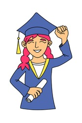 Happy smiling caucasian graduate girl with rised hand wearing academic dress and square cap and holding a diploma, cartoon character. Graduation day woman, illustration isolated on white background.