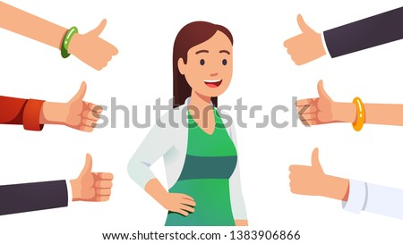 Happy smiling cheerful & beautiful woman surrounded by thumbs up gesturing hands. Social approval, positive feedback and acceptance success concept. Flat style vector character illustration