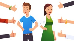 Happy smiling cheerful couple man & woman surrounded by thumbs up gesturing hands. Social approval, positive feedback and acceptance success concept. Flat style vector character illustration