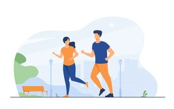 Happy smiling couple running at summer park flat vector illustration. Two cartoon runners jogging marathon together. Sport and healthy lifestyle concept