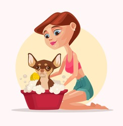 Happy smiling dog character takes bath with woman owner. Vector flat cartoon illustration
