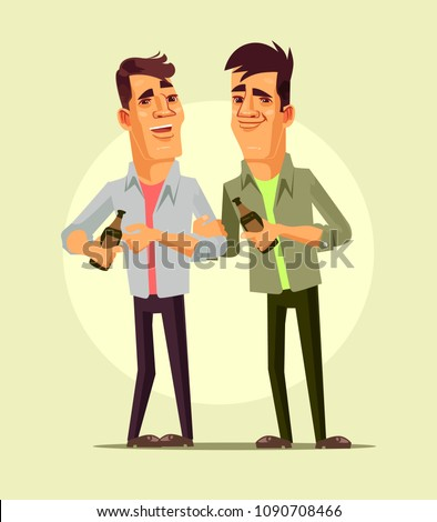 Happy smiling drunk businessman office workers characters celebration. Night club bar isolated cartoon vector illustration Сток-фото ©