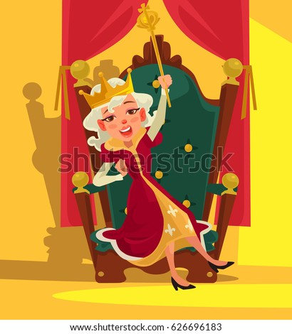 Happy smiling drunk Queen sits on throne. Vector flat cartoon illustration