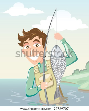 happy smiling fisherman with a fishing rod and catch on the river