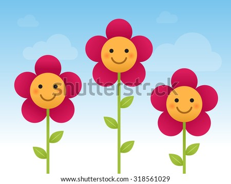 happy smiling flowers vector