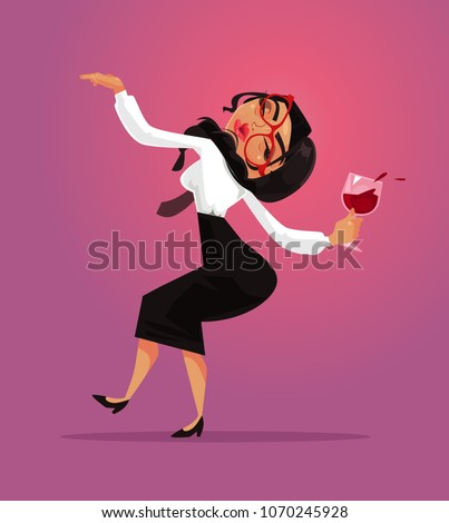 Happy smiling funny drunk woman office worker manager collar employee have fun and drink alcohol wine. Corporate business party and alcoholism bad habit addiction concept. Vector flat cartoon graphic