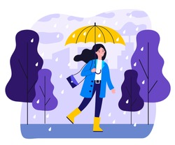 Happy smiling girl with umbrella walking in rainy day flat vector illustration. Woman staying outdoor in falling weather. Female character going in rain. Season, autumn and landscape concept