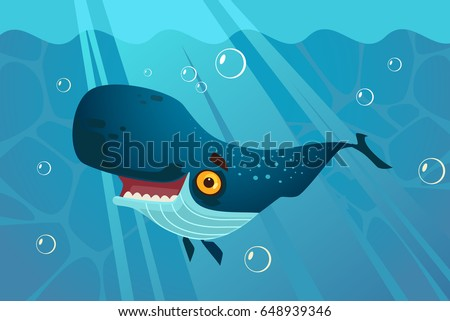happy smiling great blue whale